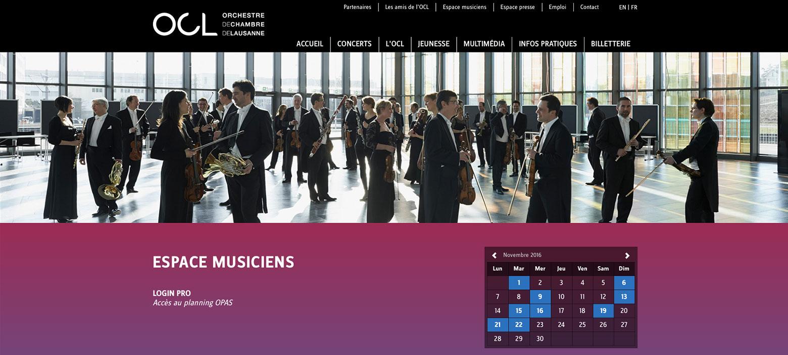 [Translate to English:] Ochestre de Chambre de Lausanne WNG Agence Digitale