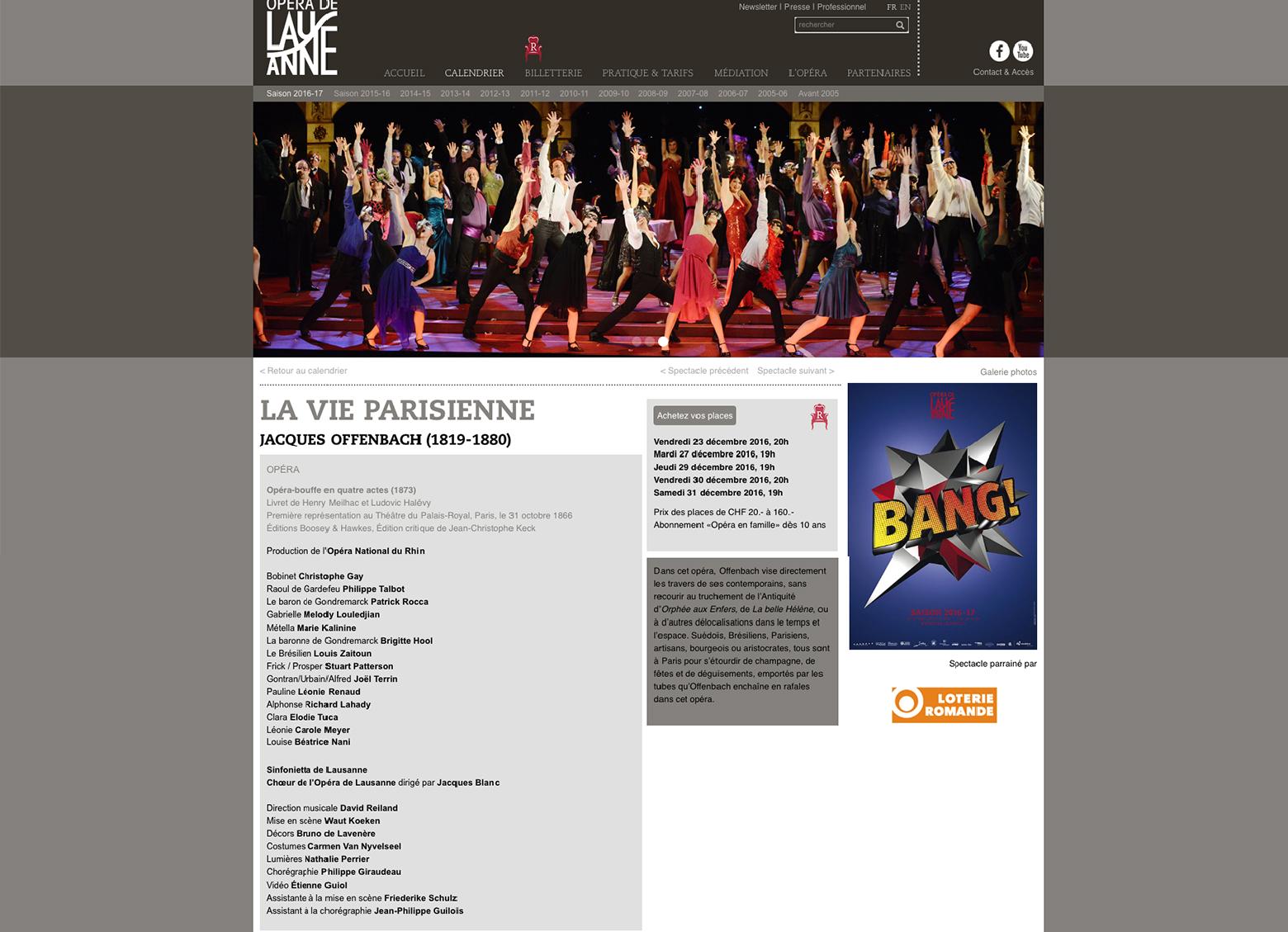 Opéra de Lausanne WNG Agence Digitale